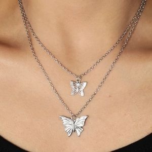 Jewelry - TWO FOR $20 butterfly double layer silver necklace